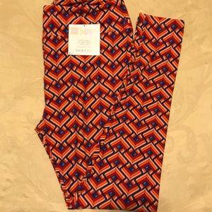 Lularoe leggings multi pattern blue orange size TC